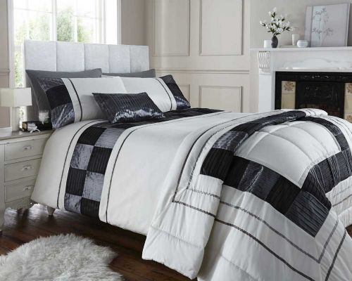 BLACK & CREAM COLOUR STYLISH PINTUCK SQUARES DUVET COVER LUXURY BEAUTIFUL BEDDING